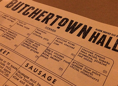 Butchertown Hall Menu